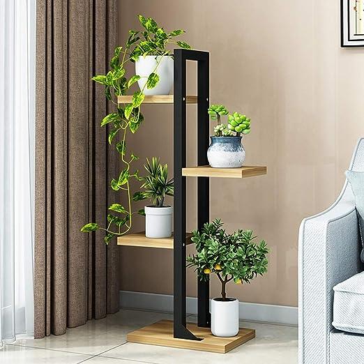 Estante de almacenamiento de plantas Soporte de flores de hierro Cuarto piso Soporte de macetas de metal de hierro de múltiples capas Soporte de exhibición Jardín interior y exterior Estante en maceta: