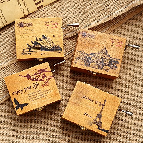 Creative Mini Wooden Hand Crank Music Box Christmas Birthday Gift
