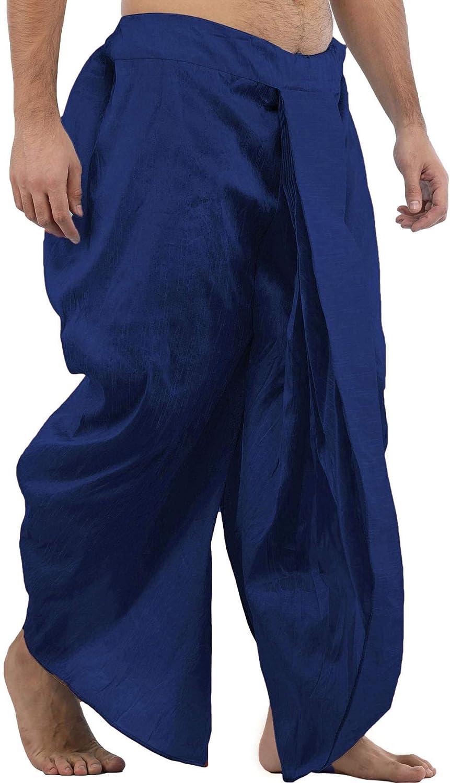 Maenner-Dhoti-Dupion-Silk-Plain-handgefertigt-fuer-Pooja-Casual-Hochzeit-Wear Indexbild 63
