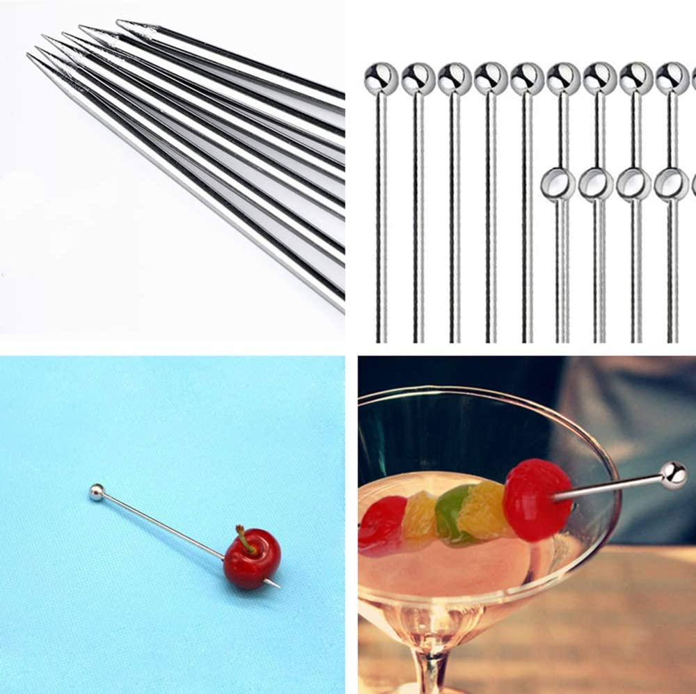 20Pcs Stainless Steel Cocktail Picks Reusable Drink Picks Fruit Sticks Great for Cocktail Party Barbeque Snacks Holiday Party Events