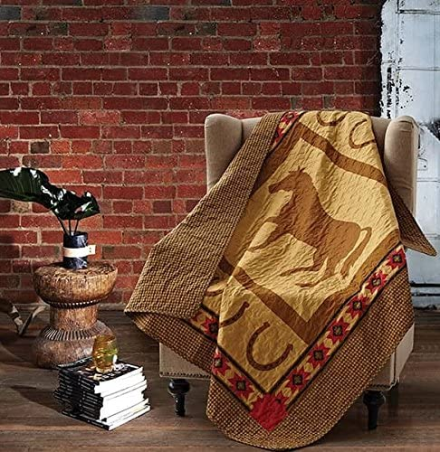 Virah Bella Horse and Horseshoe Quilt Throw Blanket