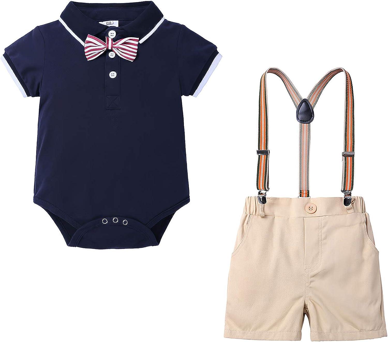 Yilaku Hemden Kleinkinder 4tlg Baby Geschenk Jungen Bekleidungssets Langarm Karierte Hemd Fliege Anzug Gentleman Festliche Taufe Hochzeit Bekleidung