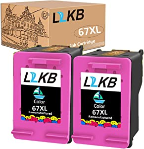 L2KB Remanufactured Ink Cartridge Replacement for HP 67XL 3YM56AN Color 2 Pack Ink Cartridge Envy 6052 6055 6058