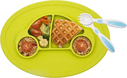 Bowl Learning Dish Boys Vehicles Baby Plate Cars Divided Dinner Tray Toddler