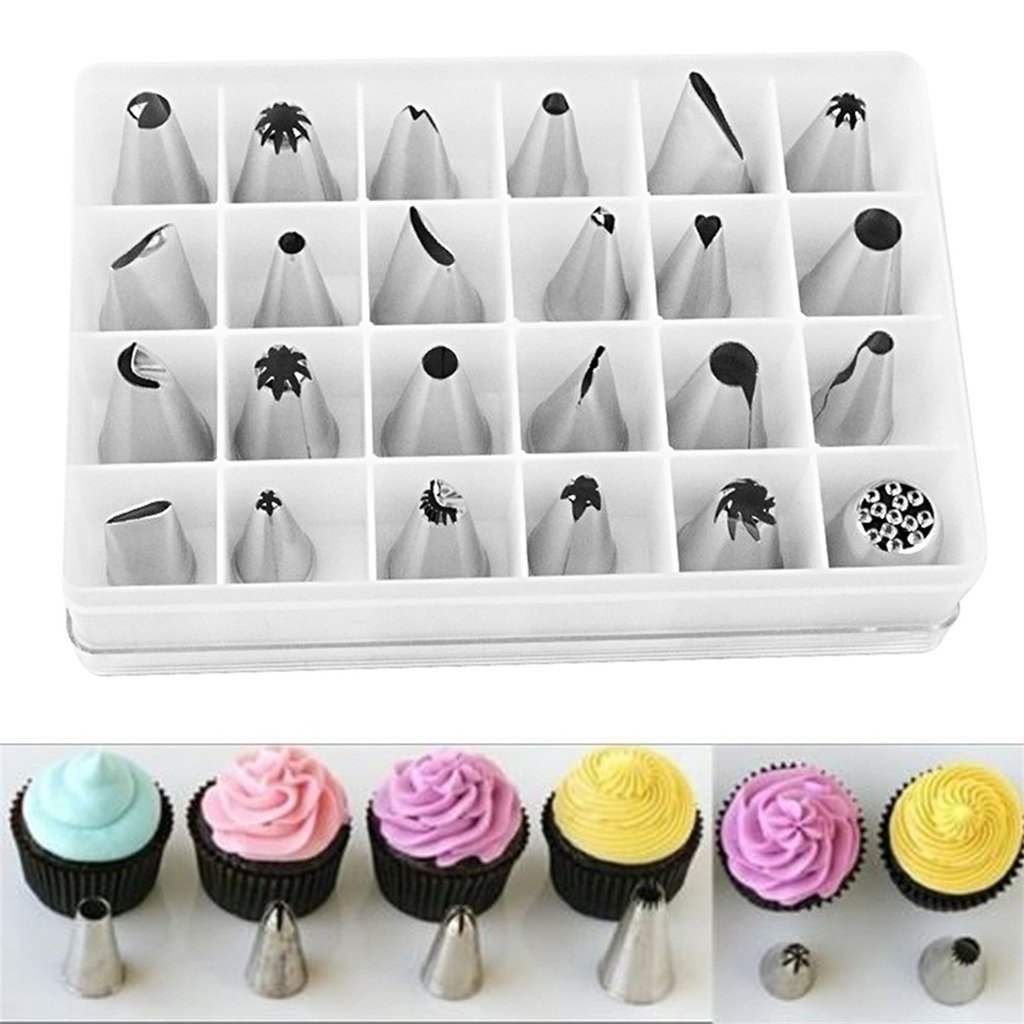 Kanical 24Pcs Stainless Steel Cake Baking Decoration Icing Piping Nozzle Pastry Tips Set Cupcake Sugar Craft Decorating Tool DIY with Storage