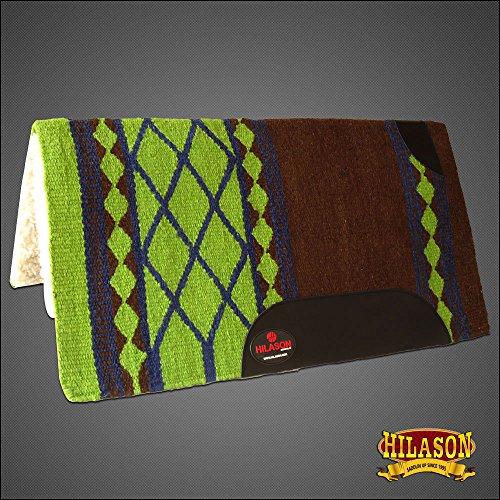(HILASON Made in USA Western Wool Felt Saddle Blanket Pad Brown Lime Green)