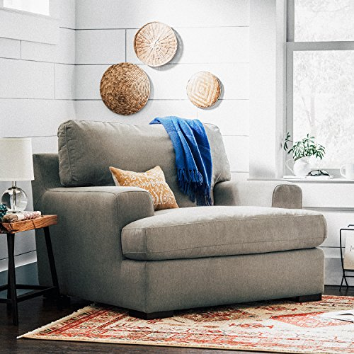 "Stone & Beam Lauren Down-Filled Oversized Living Room Accent Armchair with Hardwood Frame, 46""W, Slate"