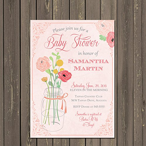 Amazon Com Mason Jar Baby Shower Invitation Coral And Pink Floral