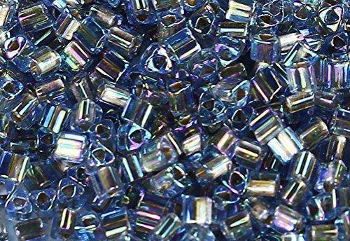 11/0 Triangle TOHO Japanese Glass Seed Beads #997-Gold-Lined Rainbow Lt Sapphire 15g