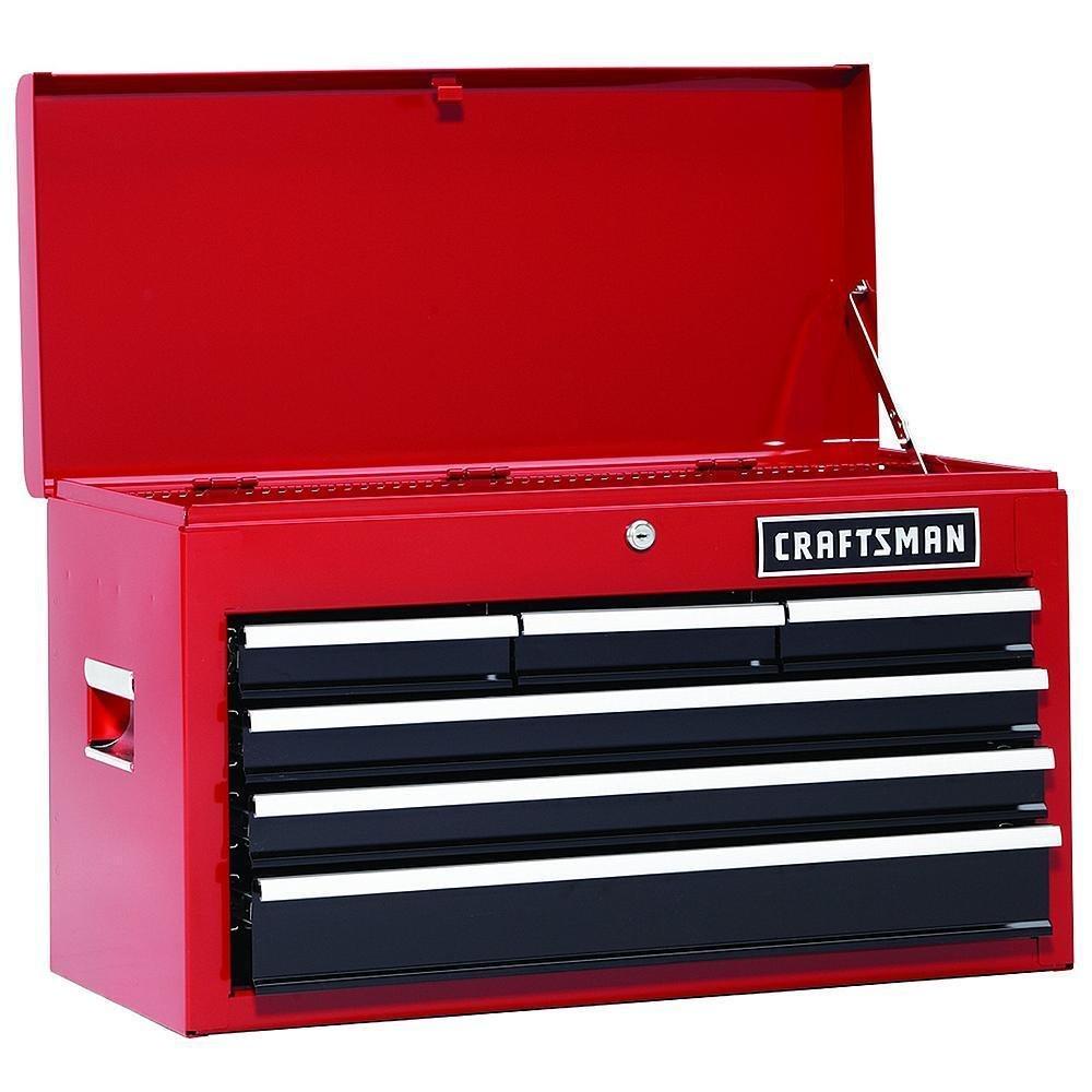 Craftsman 26 In 6 Drawer Heavy Duty Ball Bearing Top Chest Box DIY Red 37711 by Dekchokdee
