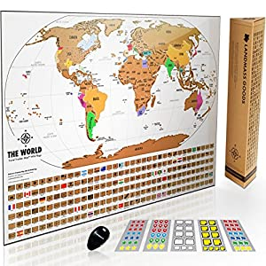 Landmass Scratch Off World Map Poster Original Travel Tracker Map W Flags Us States And Scratcher Tool Clean Design And Vibrant Colors For Your Story