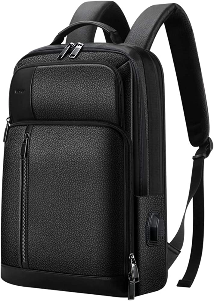 Bopai 21L Leather Travel Backpack for Men Genuine Leather Laptop Backpack 15.6 inch Business Backpack with USB Charging Black