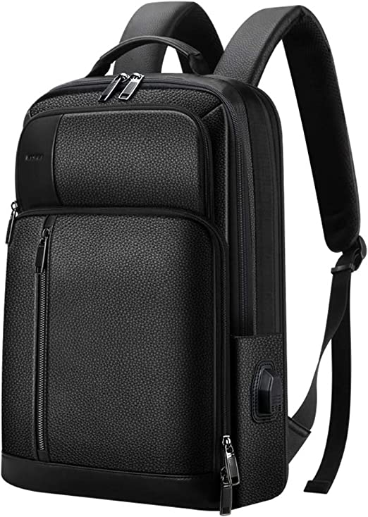 Bopai 20L Leather Laptop Backpack for Men Intelligent Increase Backpack with USB Charging Travel Backpack Men ...