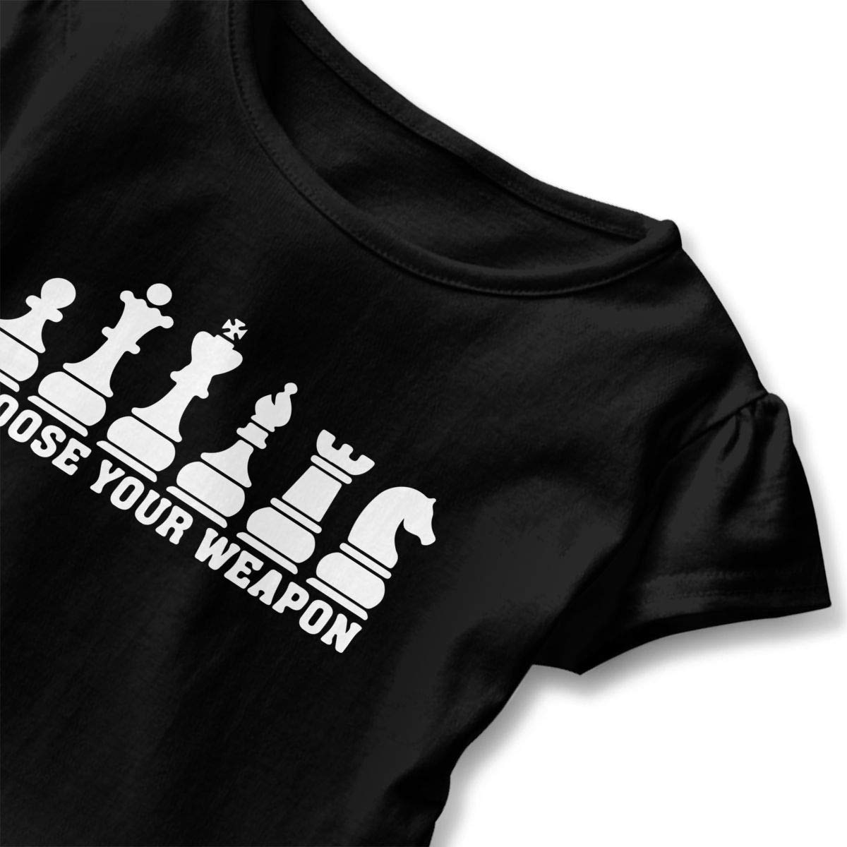 SHIRT1-KIDS Chess Club Choose Your Weapon Childrens Girls Short Sleeve Shirts Ruffles Shirt T-Shirt for 2-6T