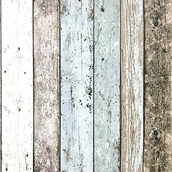 Papel pintado de vinilo efecto madera envejecida, diseño de caseta de playa, 4 colores: Amazon.es: Hogar