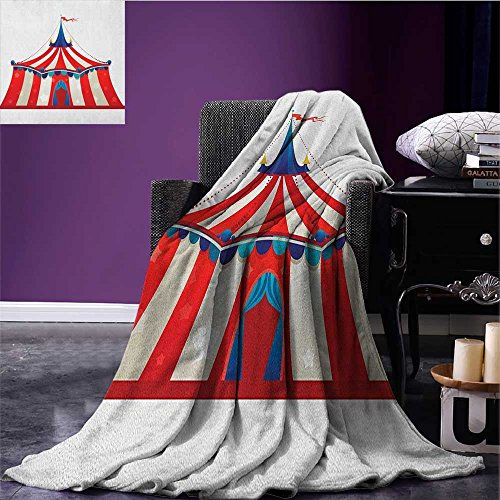 Circus picnic blanket Colorful Striped Circus Marquee Tent Stars Carnival Performance Illustration soft throw blanket Vermilion Blue size:51