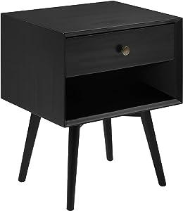 Walker Edison Ella Mid Century Modern 1 Drawer Solid Wood Nightstand, 25 Inch, Black