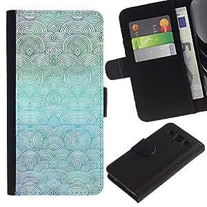 """SAMSUNG Galaxy S3 III / i9300 / i747 , la tarjeta de Crédito Slots PU Funda de cuero Monedero caso cubierta de piel ("""" Waves Art Beach Drawing Ocean Sea Blue Painting"""")"""