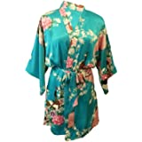 Fete Fabulous Lovely Mummy   ME Matching Turquoise Satin Peacock Kimono  Dressing Gowns 809a2cd2a
