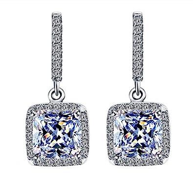 028ea245487ed Halo Designer Dangle Princess Cut 4 Carats Simulated Diamond Earrings 925  Silver