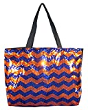 Chevron Sequin X Large Tote Bag 24-inch (Navy Blue Orange) For Sale