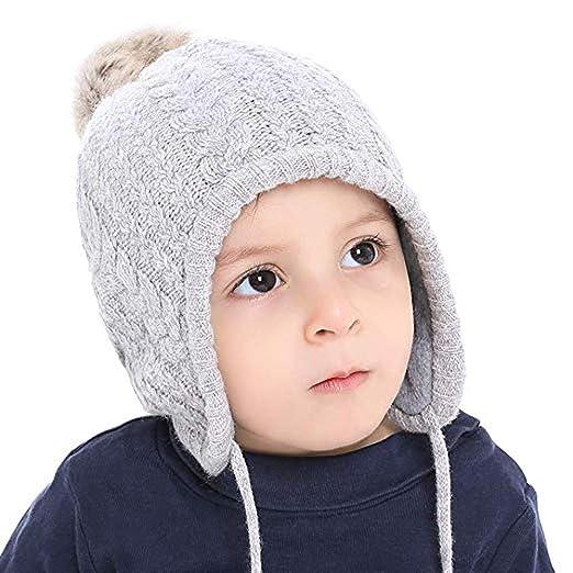 17cdb1843 Amazon.com  WARMSHOP Toddler Boys Girls Pompom Knit Crochet Knitted ...