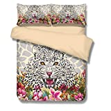 BOMCOM 3D Digital Printing Watercolor Illustration Leopard Sketch Tropical Exotic Leaves Flowers 3-Piece Duvet Cover Sets 100% Microfiber Camel (twin, Leopard & Flowers)