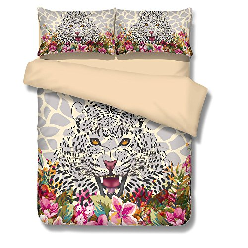 BOMCOM 3D Digital Printing Watercolor Illustration Leopard Sketch Tropical Exotic Leaves Flowers 3-Piece Duvet Cover Sets 100% Microfiber Camel (twin, Leopard & Flowers) by BOMCOM