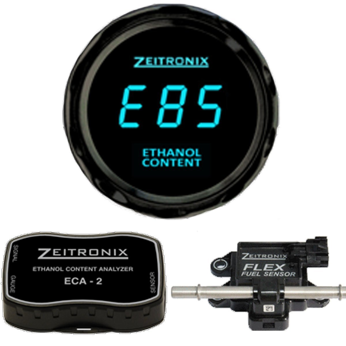 Zeitronix ECA-2 Ethanol E/% Content Analyzer Kit with Blue Display Gauge