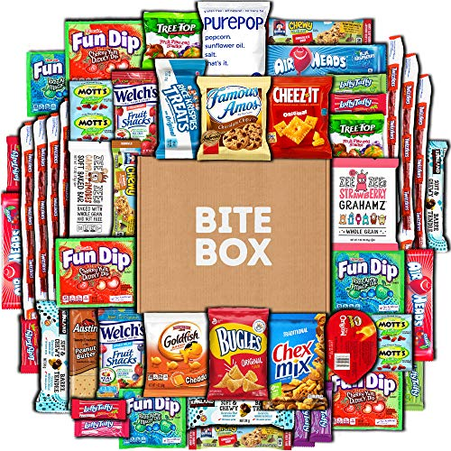 BiteBox Care Package (45 Count) Snacks Cookies Bars Chips Candy Ultimate Variety Gift Box Pack Assortment Basket Bundle Mixed Bulk Sampler Treats College Students Office Fall Semester Back to School]()