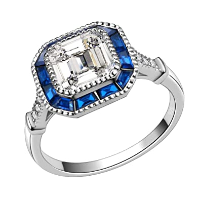 54b62c657 Lavencious Royal Halo Clear & Blue Spinel CZ Engagement Rings in 925  Sterling Silver Size 6