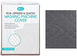 Dependable Home Collections Washing Machine Cover Waterproof Heavyweight Zippered and Quilted PEVA (Black)