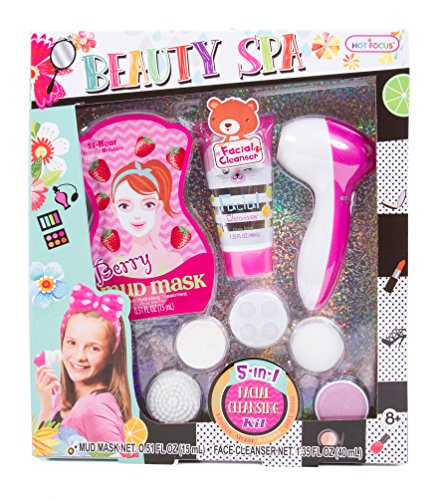 Hot Focus Beauty Spa - 5 in 1 Facial Cleansing Kit with Berry Mud Mask and Moisturizing Facial Cleanser for Girls