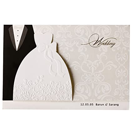 100x wishmade bride groom black and white embossed wedding invitation for engagement bridal shower anniversary card