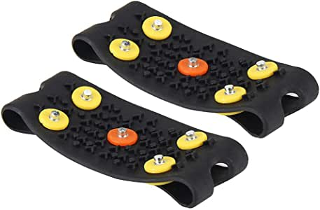 BB67 Anti Slip Ice Climbing Spikes Grips Crampon Cleats 5-Stud Shoes Cover