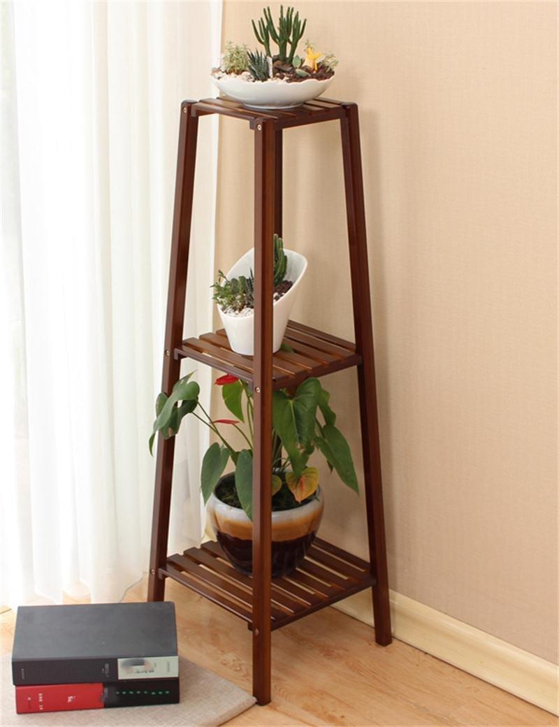 XYZ Boden Multi - Tier - Bambus Holztopf Regal Indoor Balkon Wohnzimmer Blumenregal Pflanze Inhaber Flower Pot Stand Empfindlich haltbar ( größe : 33*33*99cm )