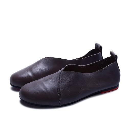 dbe3dcd46216e Amazon.com | Handmade Genuine Leather Flat Shoes Woman Hand-Sewn ...