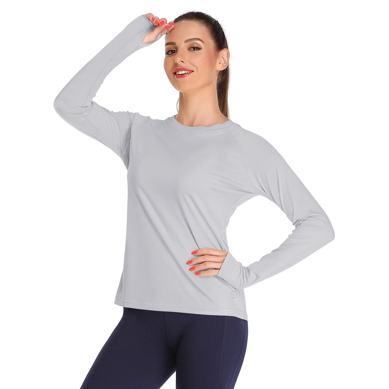 DAYOUNG Womens UPF 50+ UV Sun Protection Running Hiking Outdoors Performance Long Sleeve T-Shirt Athletic Top with Thumb Hole YWT11 Light Grey L by DAYOUNG
