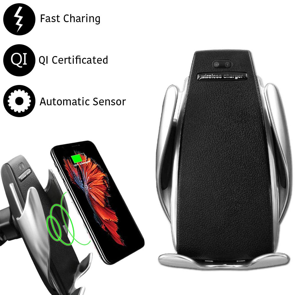 Smart Sensor Wireless Car Charger Compatible with Samsung Galaxy Note 9 s9 s9 Plus s8 s8+ and iOS X//8//8plus 10w Fast Charger Infrared Vent Hole Mobile Phone Automatic Clamping Bracket