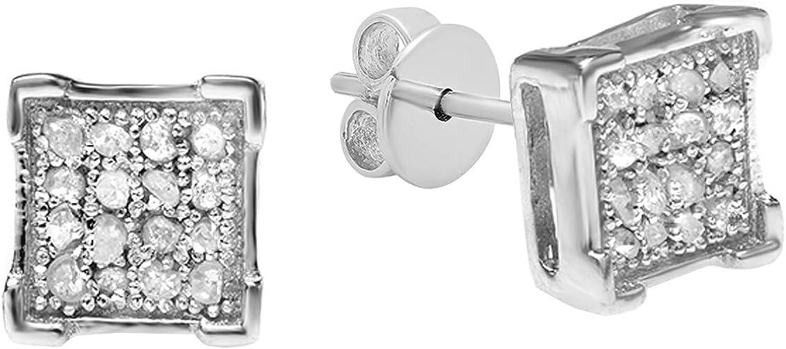 Round White Diamond Kite Shape Mens Hip Hop Iced Stud Earrings Dazzlingrock Collection 0.05 Carat ctw