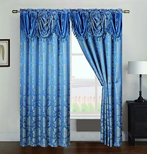 RT Designers Collection Wilton Jacquard Rod Pocket Single Curtain Panel, 54 x 84, Blue ()