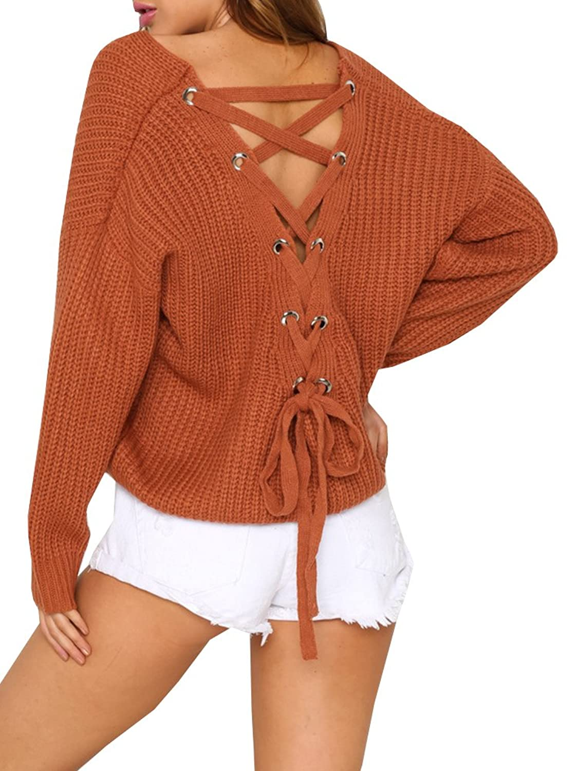 Bigyonger Women s Lace Up Back V Neck Long Sleeve Knit Pullover Loose  Sweater Jumper 6b58c4d28