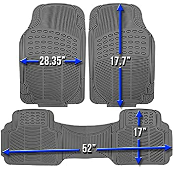 Oxgord Universal Fit 3-piece Full Set Ridged Heavy Duty Rubber Floor Mat - (Gray) 4