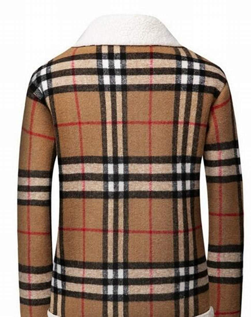 Suncolor8 Mens Plus Size Lamb Wool Lined Checkered Loose Quilted Jacket Coat Outerwear