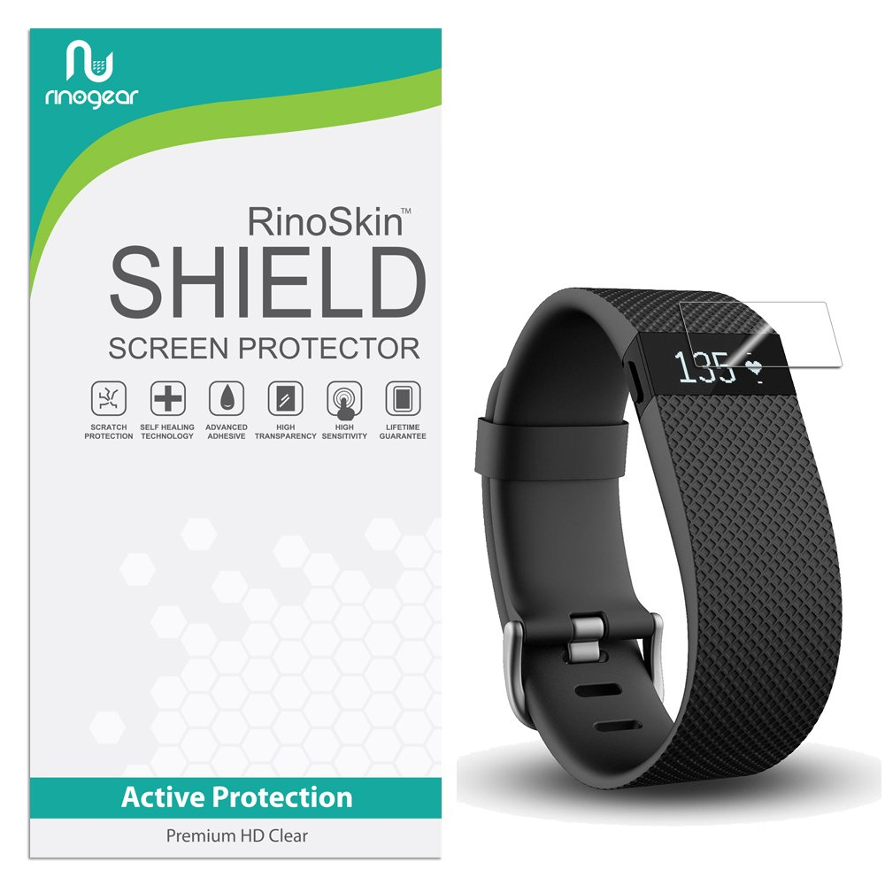 [10-PACK] RinoGear for Fitbit Charge/Charge HR Screen Protector [Active Protection] Flexible HD Invisible Clear Shield Anti-Bubble Film