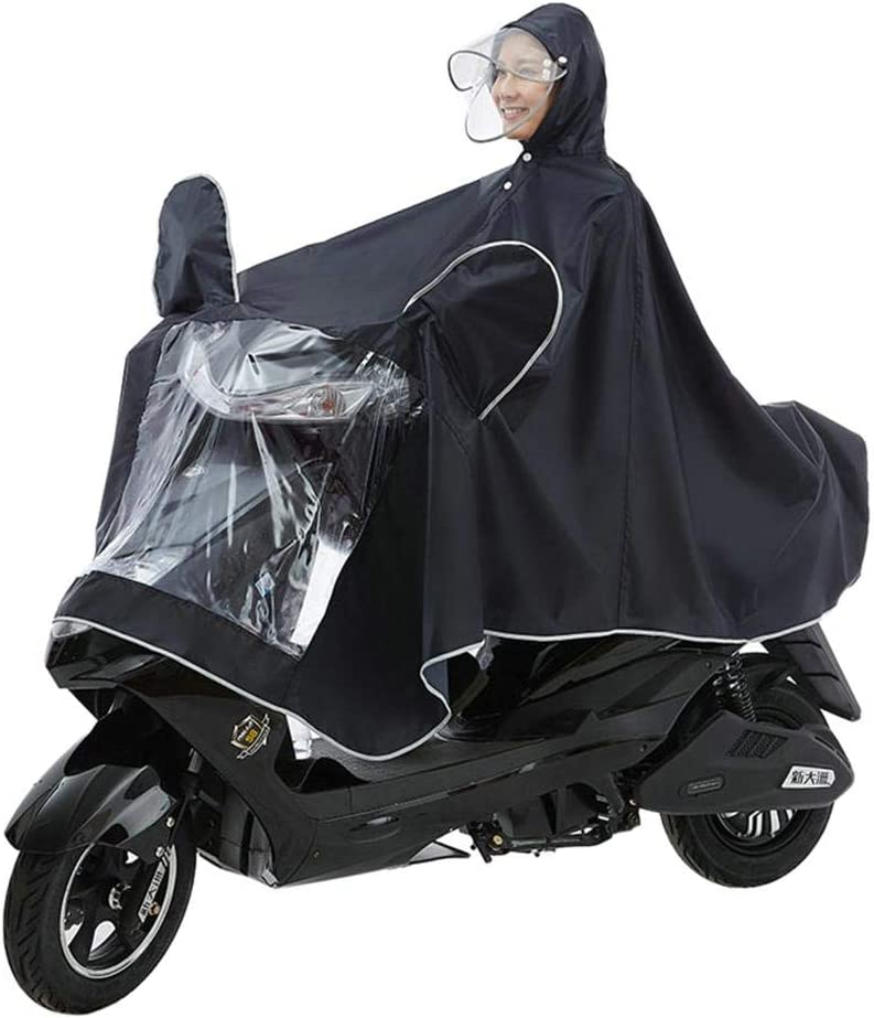 Bestmemories Adult Double Hat Motorcycle Raincoat Detachable One-Piece Rain Poncho Anti-rain Breathable Waterproof Cape Garment Raincoat for Motorcycle Scooter Cycling Bike Riding for Outside