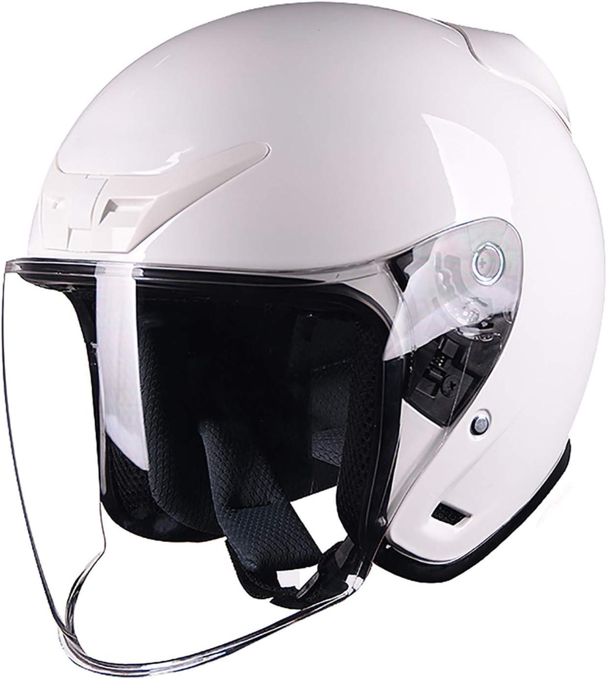 Foot Care Helmet Motorcycle Half Helmet Open Face Helmet Sun Visor Quick Release Buckle DOT + ECE Approved Retro Open Face Motorcycle Helmet A,M(57~58cm)