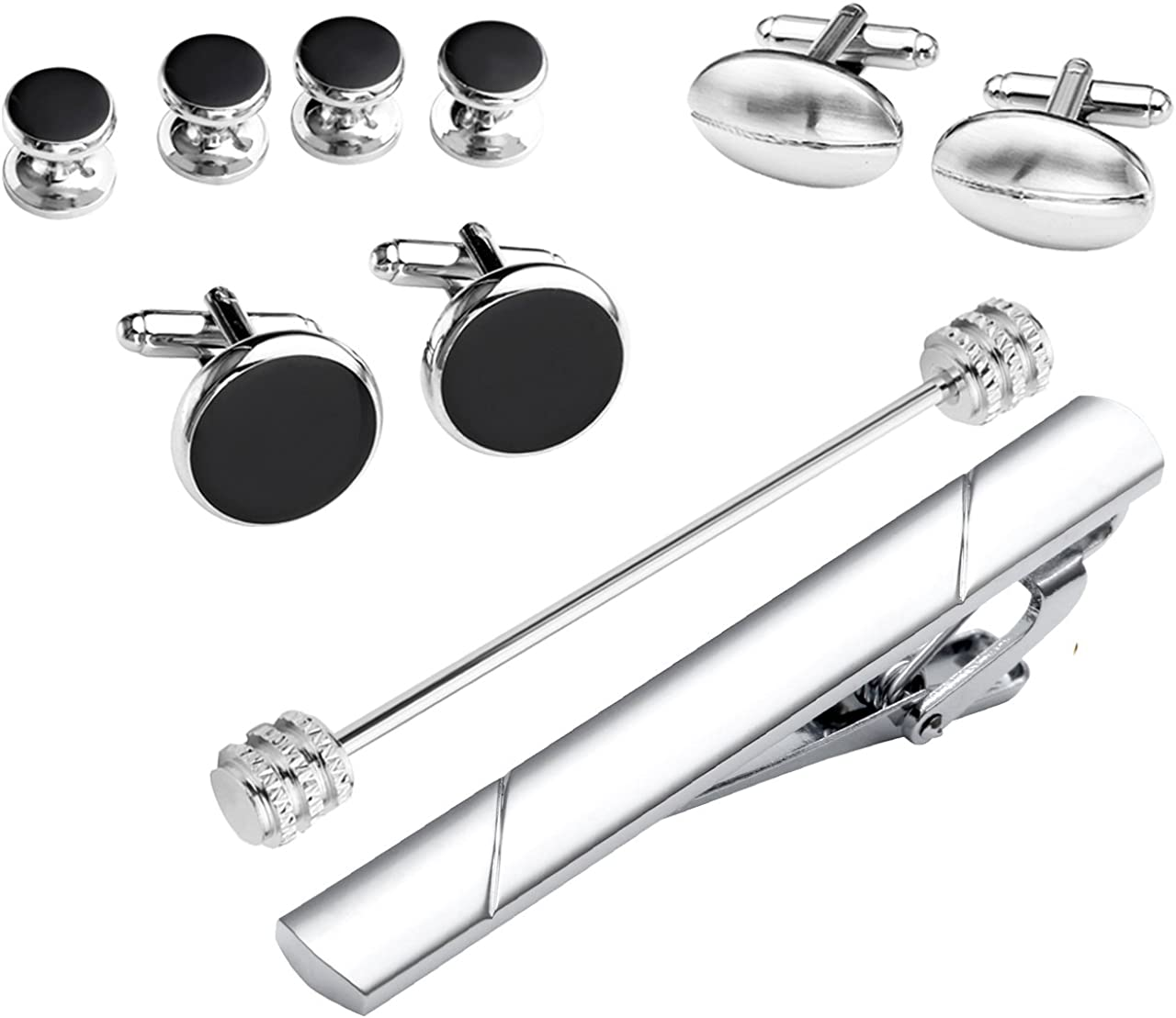 Shirt Studs Tie Clip Jovivi 10pc Mens Stainless Steel Exquisite Cufflinks Collar Tie Pin Bar Set for French Cuff Shirts w//Box