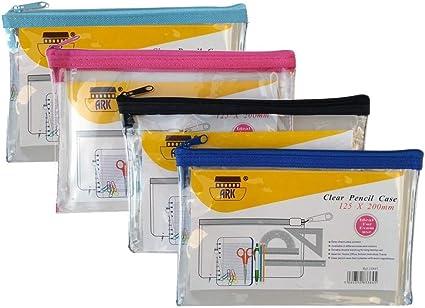 Estuche de PVC con cremallera de colores 200x125 mm, transparente, surtido azul/rosa/negro (único), de Ark: Amazon.es: Oficina y papelería