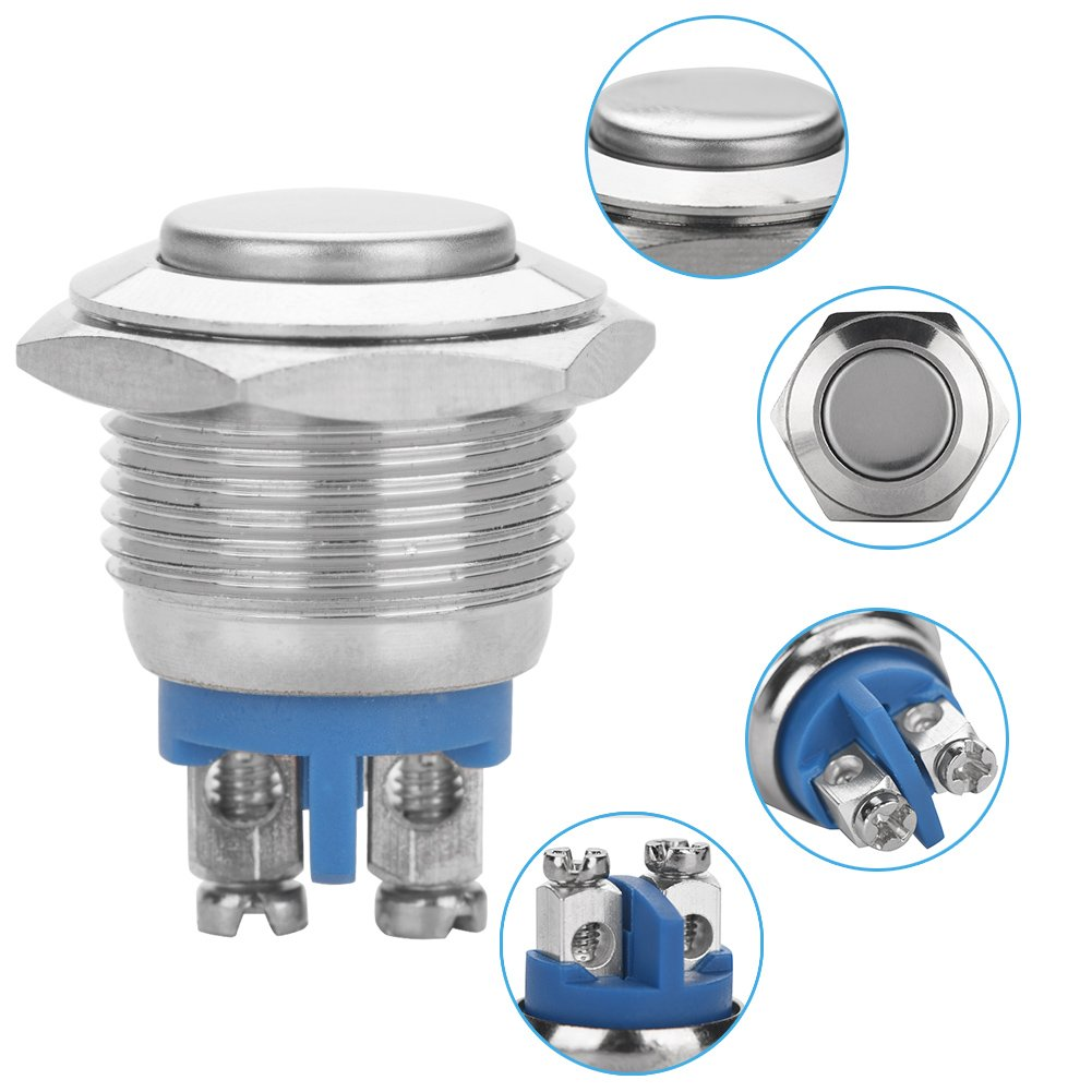 convex head 5 Pcs//set 16mm 250V Stainless Steel Silver Alloy Waterproof 2Pin Mini Push Button Switch